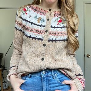 Vintage | cotton knit bird winter cardigan